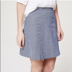 Loft - Navy Stripe Mini Flare Skirt